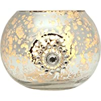 Luna Bazaar Vintage Mercury Glass Glass Candle Holder (2.5 Inch, Star Motif, Silver) For Use With Tea Lights For...