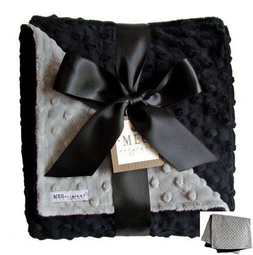 MEG Original Minky Dot Baby Blanket Black/Gray