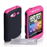 Dual Combo Hard And Soft Silicone Gel Case For The HTC Wildfire S Pink / Black With Screen Protector Film And Grey Micro-Fibre Polishing Clothby Yousave