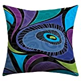 DENY Designs Gina Rivas Design Feather Eye Outdoor Throw Pillow, 26 by 26-Inch