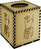 Square 'Egyptian Head' Engraved Wooden Tissue Box Cover (TB00011623)