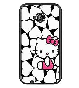 PrintDhaba Heart Kitty D-1255 Back Case Cover for MOTOROLA MOTO E2 (Multi-Coloured)