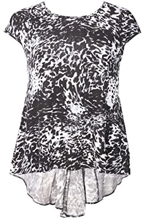 Yoursclothing Plus Size Womens Animal Print Longline Top With Godet Back Black