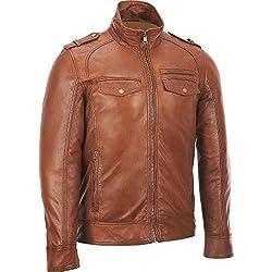 Zayn Leather Men's Leather Jacket (373_WLJ_Brown_Large)