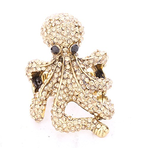 JQUEEN Realistic 3D Octopus Shaped Rhinestone Gold/Silver Plated Stretch Ring,for Women Men Unisex