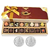 Chocholik Belgium Chocolates - 8 Milk And 8 White Attractive Chocolate Box With 5gm X 2 Pure Silver Coins - Diwali...