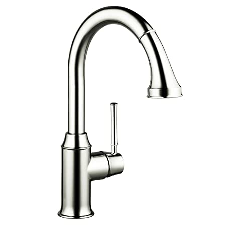 Hansgrohe 04215830 Talis C HighArc Single-Hole Kitchen Faucet with Pull Down 2-Spray, Polished Nickel