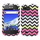 Cell Armor Snap-On Carrying Case for ZTE N850 - Retail Packaging - Yellow/Pink/Blue/White Chevron on Black