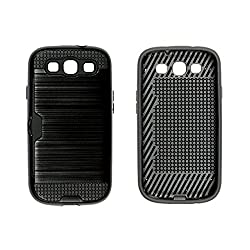 Bracevor Dual Layer Card Slot Shimmer Back Case Cover for Samsung Galaxy S3 - Jet Black