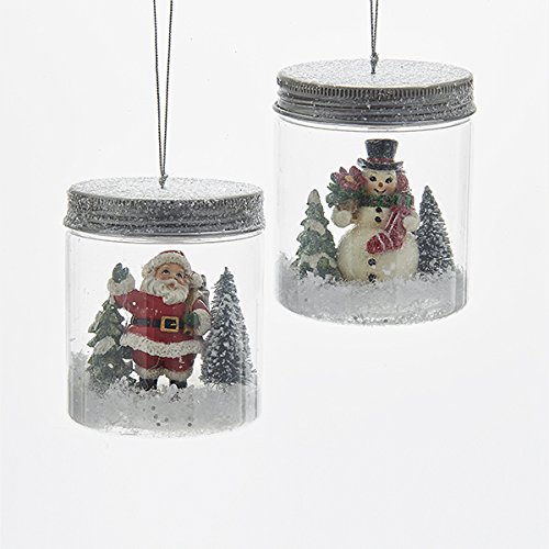 "Kurt Adler 3 25"" Santa/snwmn IN Mason Jar Ornaments"