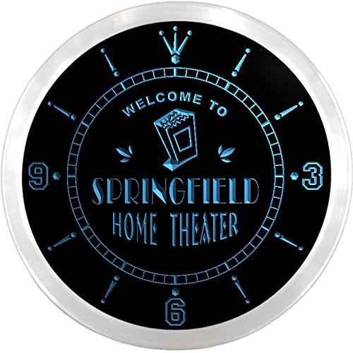 Ncph2205-B Springfield Home Theater Movie Bar Beer Led Neon Sign Wall Clock