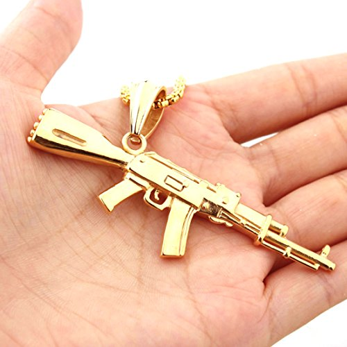 Mens Stainless Steel Gold Tone Army Style M16 Gun Pendant Necklace (Gold Gun Necklace compare prices)