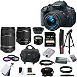 Canon EOS Rebel T5i 18.0 MP CMOS Digital Camera with EF-S 18-55mm f/3.5-5.6 IS STM Zoom Lens and EF-S 55-250mm f/4.0-5.6 IS Telephoto Zoom Lens plus 32GB Deluxe Accessory Bundle