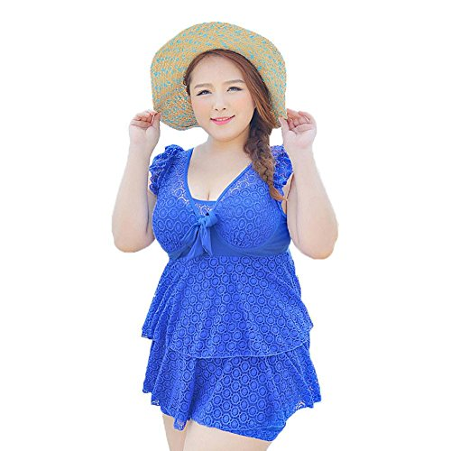 Plusasa Womens Lace Swimdress Ruffle Trim Plus Size One Piece Swimsuit Swimwear,XXL,Blue