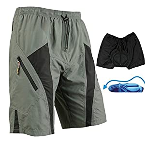 Santic Men's Padded Loose Fit (XXX-Large(Waist 39-43''), Gray/Black) from Coxeer