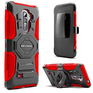 Evocel LG Volt 2 (LS751) Case - Dual Layer [New Generation] Rugged Holster Case with Kickstand and Belt Swivel Clip For LG Volt 2 LS751 (Boost Mobile) - Retail Packaging, Red