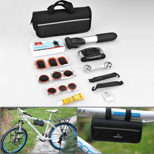 Compact Design 16 in 1 Multi Function Purpose Bike Bicycle Cycling Tyre Repair Tool Kits Complete Set + Mini Portable Pump