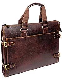 "AYS Stylish 15.9"" Genuine Pure Leather Laptop Sleeve Messenger Office Bag"