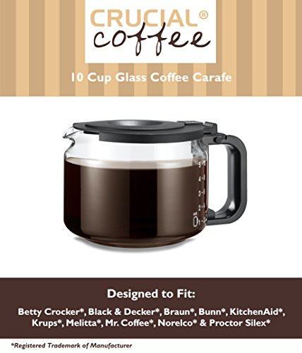 Universal Fit 10 Cup Glass Coffee Carafe, Fits Black & Decker DCM 90WH, Braun Aromaster, Bunn A10, GRX, Mr. Coffee AD10, ACM10 & Many More, Compare to Part # GL210