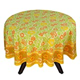 "70"" Round Tablecloth - Exquisite Yellow, Orange, And Green Floral Cotton - Handmade Indian Linen"