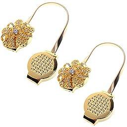 M-Aimee One Pair Magnetic Diamond Flower Curtain Clips Tiebacks Holdbacks (Gold Magnetic Curtain Clip)