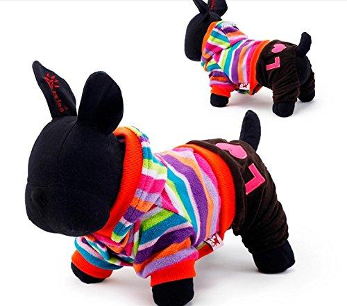Warm Winter Pet Dog Jumpsuit Fleece Rainbow Stripe Hoodie Coat Clothes M,Brown