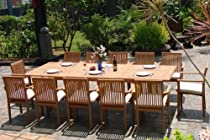 "Hot Sale Grade-A Teak Wood Luxurious Dining Set Collections: 13 pc - Large 117"" Double Extension Rectangle Table And 12 Lua Stacking Arm Chairs"