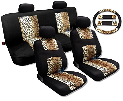 13 Piece Supreme Mesh Safari Leopard Spots Print Seat Covers Thick Padded Comfort - Front & Rear Steering Wheel Seat Belt Covers (Brown Tan Leopard) (Brown Leopard Seat Covers compare prices)