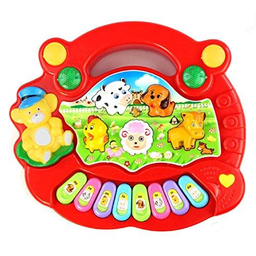 Jouets pour bébé,Transer®Nouveau utile populaire Animal Farm musique Piano jouet du développement pour les enfants (Rouge)