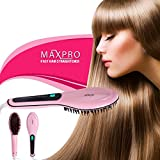 Maxpro Hair Straightener Brush for Professional Finish Digital Temperature Control for easy use Instant Silky Care Styling Zero Damage Massage Detangling Iron Beautiful Shiny Straight Look