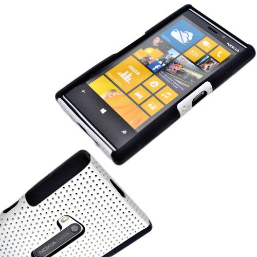 Mylife (Tm) White And Shocking Black Perforated Mesh Series (2 Layer Neo Hybrid) Slim Armor Case For The Nokia Lumia 920, 920.2, 920T And 920 4G Camera Smartphone By Microsoft (External Rubberized Hard Shell Mesh Piece + Internal Soft Silicone Flexible Ge