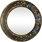 Malik Designs Iron Leaf Top Round Wall Mirror - (87 Cm X 3 Cm X 87 Cm)