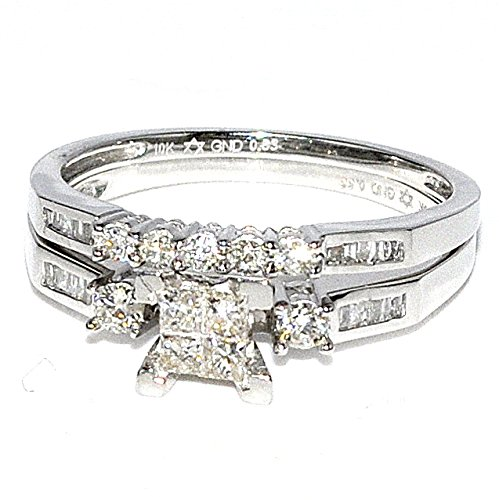 Diamond Bridal Wedding Set 0.5ct White Gold 2 Piece Engagement Ring + Band Princess Cut