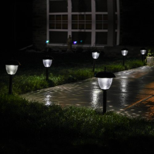 paradise set of 8 glass highoutput led solar path lights in bronze or - Path Lights