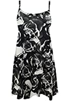 AS Fashion Ladies Printed Swing Vest Flared Dress Womens Strappy Sleeveless Top Plus 8-18