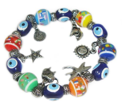 Blue Evil Eye Bracelet with Charms and Colorful Beads