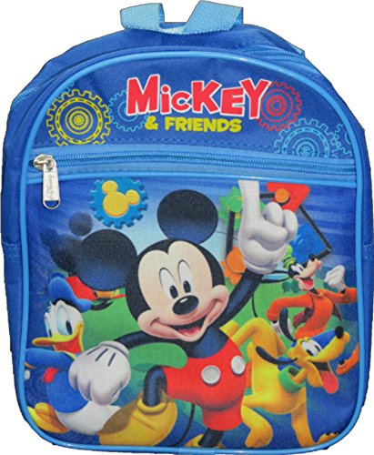 "Disney Mickey Mouse and Friends 10"" Toddler Backpack - Blue School Bag"