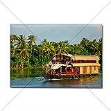"CafePress - Houseboat on Kerala backwaters. K Rectangle Magnet - Rectangle Magnet, 2""x3"" Refrigerator Magnet"