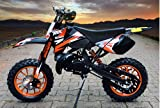 "Dirtbike Coyote 49cc 10"" Crossbike Pocket Minicross Motorcross Orange"