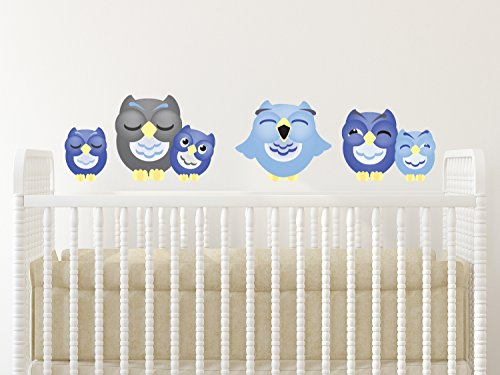 Sunny Decals Sleepy Owl Fabric Wall Decals (Set of 6), Large, Dark Blue/Light Blue/Grey