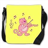 Pink Cat Playing Classical Music On Violin Small Black Canvas Shoulder Bag / Handbag