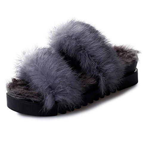 JIAJIA Torta di coniglio Mao Maosong piattaforma tacco alto femminile un pantofole parola casa scarpe 35 36 37 38 39 2 3 4 5 6 7 8 9 10 11 12 , gray , 37