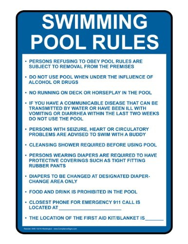 Compliancesigns Aluminum Write-On Washington Swimming Pool / Spa Sign, 28 X 20 With English, White front-130526