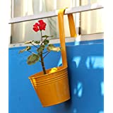 Green Gardenia Railing Bucket With Handle Large-Yellow