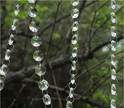 Krismile® 33 Feet Iridescent Crystal Acrylic Gems Bead Strands Wedding Table Centerpieces Wishing Tree Garland , New Acrylic Crystal Garland Strand Chain Hanging Diamond Bead Decor Wedding Home decor (Wedding Gems For Centerpieces compare prices)