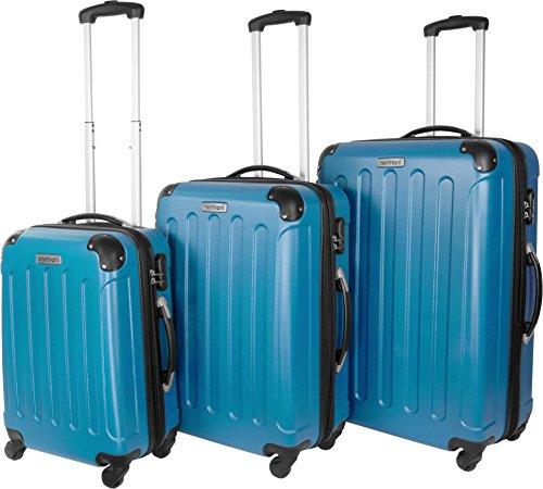 Scelta di colori. Valigia da viaggio 3pezzi set valigetta valigetta Set Trolley rigida, blu chiaro, M/L/XL