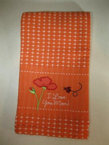 I Love You Mom Orange Kitchen Dish / Tea Towel - Ladybug & Flowers