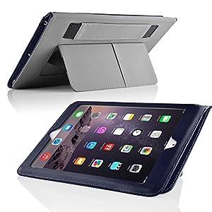 Cadorabo ®! Premium Apple Ipad AIR 1 (Model 2013) Schutzhülle mit Standfunktion und Haltegriff in Dunkel blau