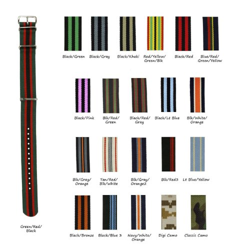 Military-Style Nylon Watch Strap - 22Mm - Choose From 30 Different Stripe Colors & Combinations