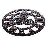 SOLEDI-Wanduhr-Europische-Vintage-Handarbeit-3D-Dekorative-Zahnrad-aus-Holz-Farbe-Kupfer